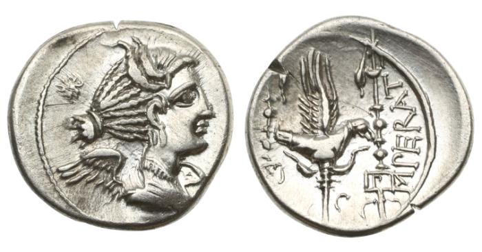 Ancient Coins - Roman Republic, C Valerius Flaccus,  82 BC, AR Denarius