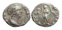 Ancient Coins - Roman Empire, Faustina Sr, after 142 AD, AR Denarius