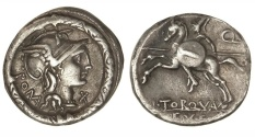 Ancient Coins - Roman Republic, L Manlius Torquatus, 113-112 BC,  AR Denarius