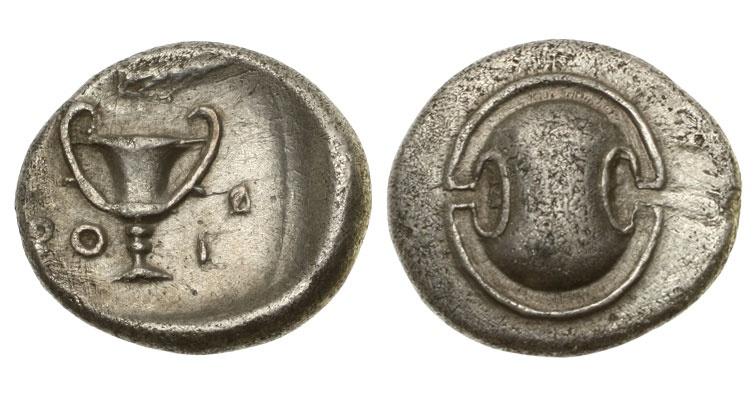 Ancient Coins - Boeotia,Thebes, 395-340 BC, AR Hemidrachm