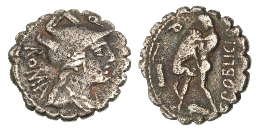 Ancient Coins - Roman Republic, C Poblicius, 80 BC, AR Denarius Serratus,
