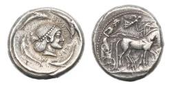 Ancient Coins - Sicily, Syracuse, 480-475 BC, AR Tetradrachm