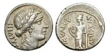 Ancient Coins - Roman Republic, Man. Acilius Glabrio, 49 BC, AR Denarius