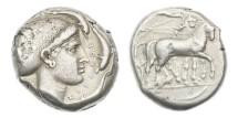 Ancient Coins - Sicily, Syracuse, 465-425 BC, AR Tetradrachm
