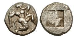 Ancient Coins - Thrace, Thasos, c. 500-480 BC, AR Trihemiobol