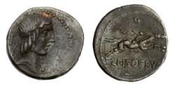 Ancient Coins - Roman Republic, C Calpurnius Piso L f Frugi 67 BC AR Denarius
