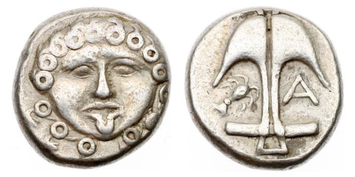 Ancient Coins - Thrace, Apollonia Pontika, 450-400 BC, AR Drachm