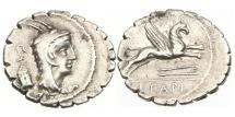 Ancient Coins - Roman Republic, L Papius, 79 BC, AR Denarius serratus