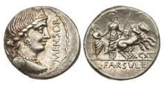 Ancient Coins - Roman Republic, L Farsuleius Mensor, 75 BC, AR Denarius