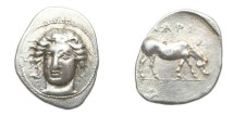 Ancient Coins - Thessaly, Larissa 350-325 BC, AR Drachm