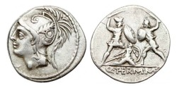 Ancient Coins - Roman Republic, Q Thermus MF, 103 BC, AR Denarius.
