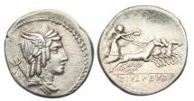 Ancient Coins - Roman Republic, L Julius Bursio, 85 BC, AR Denarius