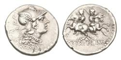 Ancient Coins - Roman Republic, C Servilius MF, 136 BC, AR Denarius