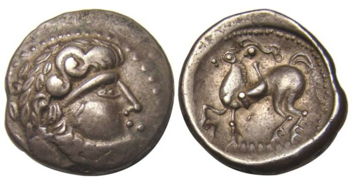 Ancient Coins - Celtic, Danubian Region, ca 200 BC, AR Stater