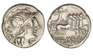 Ancient Coins - Roman Republic, M Aburius MF Geminus, 132 BC, AR Denarius