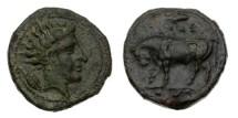 Ancient Coins - Sicily, Gela, 420-405 BC, AE Trias