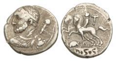 Ancient Coins - Roman Republic, TI Quinctius, 112-11 BC, AR Denarius
