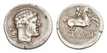 Ancient Coins - Spain, Celtiberian, Bolskan, 150-100 BC, AR Denarius