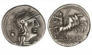 Ancient Coins - Roman Republic, L Postumius Albinus, 131 BC, AR Denarius