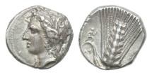Ancient Coins - Lucania, Metapontion, 330-290 BC, AR Nomos