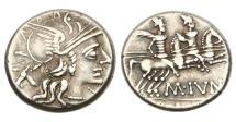 Ancient Coins - Roman Republic, M Junius Silanus, 145 BC, AR Denarius