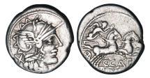 Ancient Coins - Roman Republic, Cn Porcius Cato, 123 BC, AR Denarius