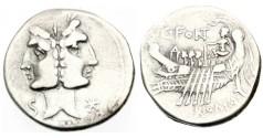 Ancient Coins - Roman Republic, C Fonteius, 114-113 BC AR Denarius