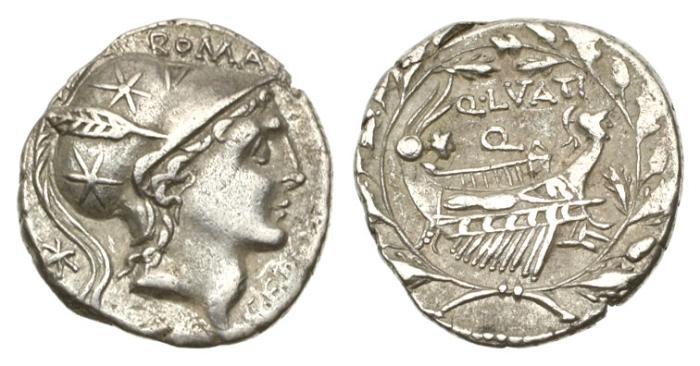 Ancient Coins - Roman Republic, Q Lutatius Cerco,109-108 BC, AR Denarius