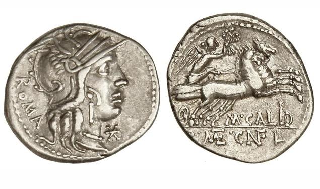 Ancient Coins - Roman Republic, Cn. Fulvius, M Calidius, Q Caecilius Metellus, AR Denarius
