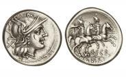 Ancient Coins - Roman Republic, C Scribonius, 154 BC, AR Denarius
