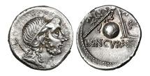 Ancient Coins - Roman Republic, Cn Cornelius Lentulus Martellinus,76-75 BC, AR Denarius