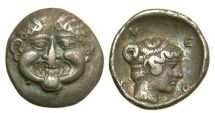 Ancient Coins - Macedon, Neapolis. 424-350 BC, AR Hemidrachm