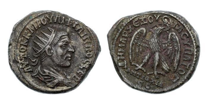Ancient Coins - Syria, Seleucis and Pieria. Antioch, Philip I, 244-249 AD, Billon Tetradrachm