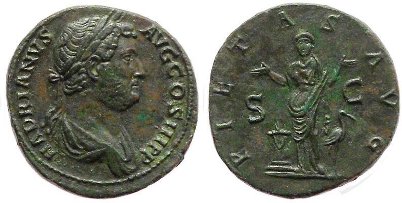 Ancient Coins - Hadrian, 134 - 138 AD.
