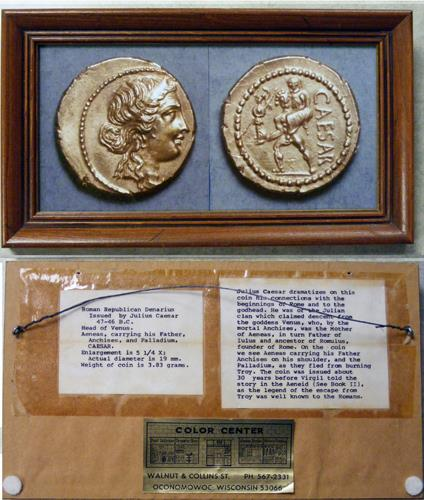 Ancient Coins - Framed photo of Julius Caesar denarius