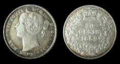 World Coins - New Brunswick: 1862 Victoria 20¢