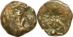 Ancient Coins - A bronze prutah of Alexander Jannaeus ('widow's mite') – double struck
