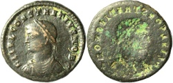 Ancient Coins - A Roman bronze coin of Constantine II - brockage