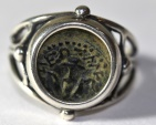 """Ancient Coins - A silver ring with original """"Widow's Mite"""" coin"""