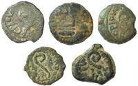 Ancient Coins - A lot of five bronze coins of Pontius Pilate, procurator of Judea under Tiberius, 29-31 C.E.