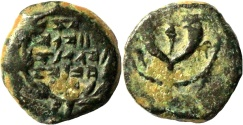 Ancient Coins - A bronze prutah of John Hyrcanus