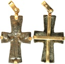 A gold pendant (14 ct.) with Byzantine half cross depicting supplicant, Middle-Late Byzantine Era 11th-13th centuries CE.