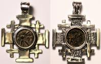 """Ancient Coins - A decorated silver pendant with original """"Widow's Mite"""" coin (103-76 B.C.E.) - perfect gift!"""
