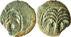 Ancient Coins - A bronze prutah of Coponius or Ambibulus, procurators of Judea under Augustus – brockage