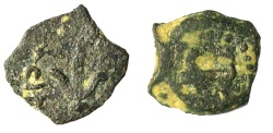 Ancient Coins - A bronze coin (apparently half of prutah) of Herod the Great, mint of Jerusalem
