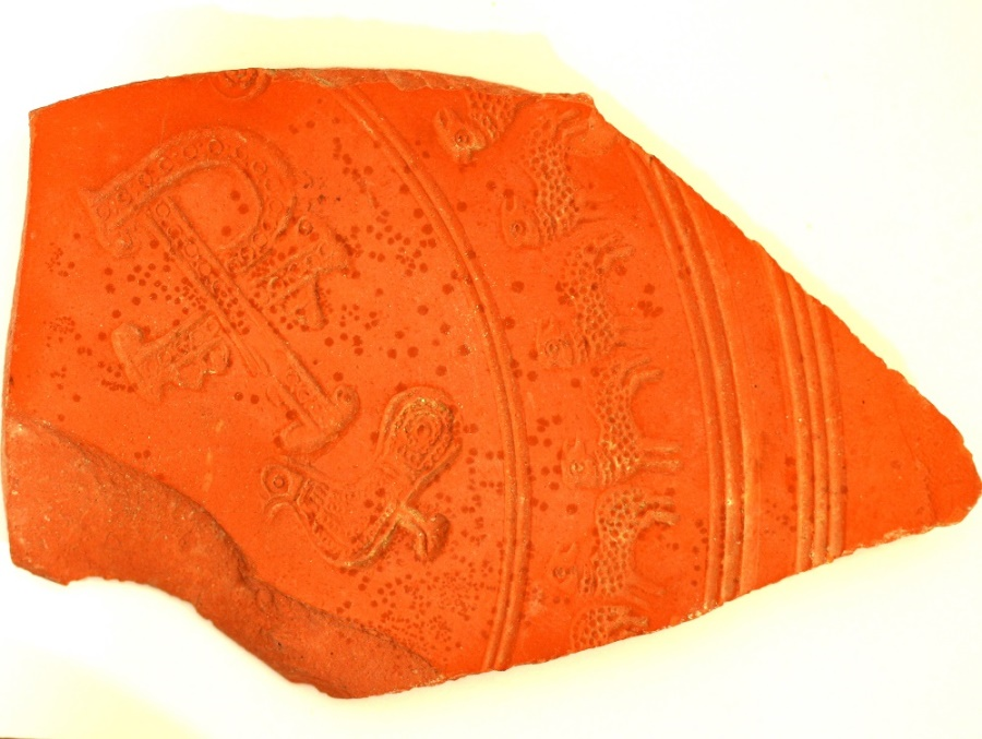 Ancient Coins - North African red slip ware, depicting a Christogram or Chirho with Alpha and Omega, lambs and a dove