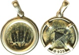 Ancient Coins - A silver pendant with original prutah of Agrippa I, mint of Jerusalem, 41/2 C.E.