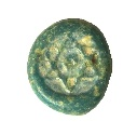 Ancient Coins - Blue glass round weight depicting Six pointed star, Islamic period