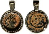 Ancient Coins - A silver pendant with original Late Roman bronze coin – a perfect gift