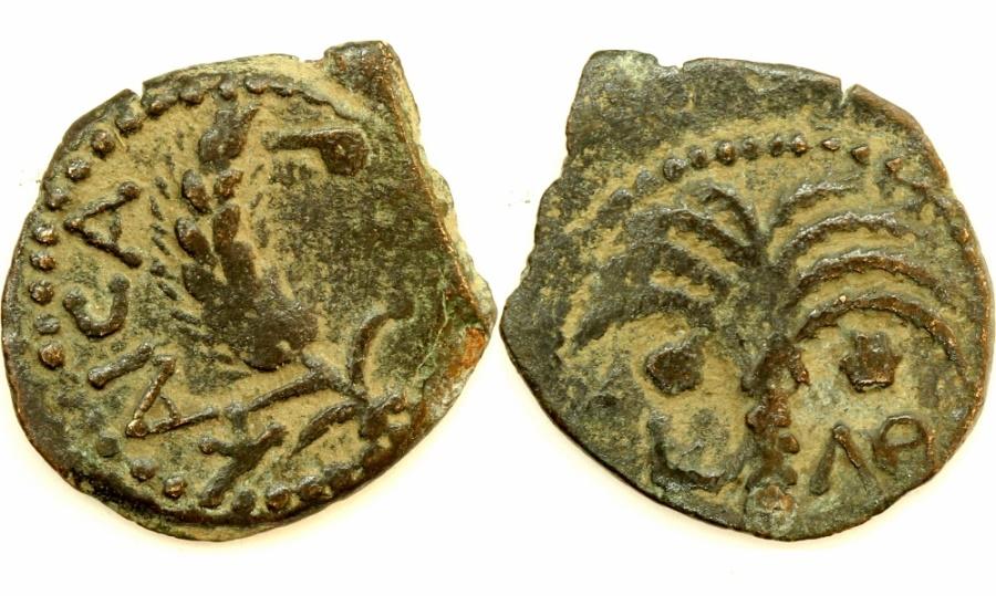 Ancient Coins - A bronze prutah of Marcus Ambibulus, procurator of Judea under Augustus